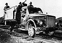 This captured GAZ-51 truck was remodelled to run on the rails. North Korea, December 1950 (156 Kb)